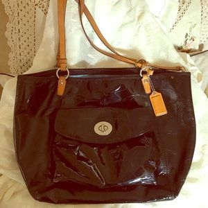 Dooney and Bourke black patent leather tote purse